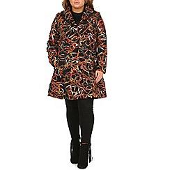 Samya - Black plus size long sleeve textured coat