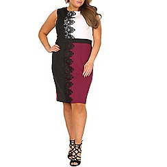Samya - White plus size lace trim block colour dress