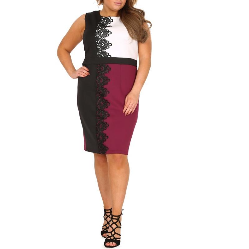 Samya White Plus Size Lace Trim Block Colour Dress, Womens,