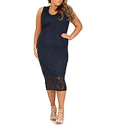 Samya - Navy plus size v neck glitter bodycon dress