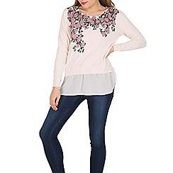 Apricot - Cream floral print jumper