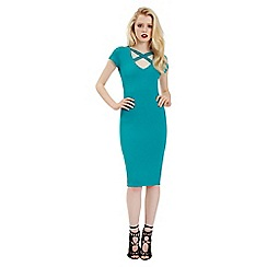 Jane Norman - Green jersey cross neck dress
