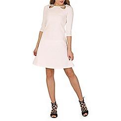 Indulgence - Cream 3/4 sleeve fit and flare dress