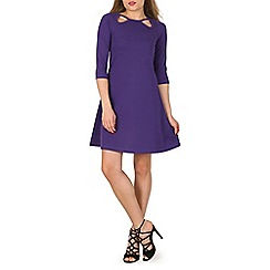 Indulgence - Plum 3/4 sleeve fit and flare dress