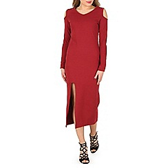 Indulgence - Wine cold shoulder maxi dress