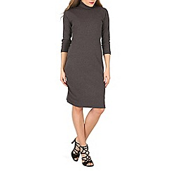 Indulgence - Dark grey turtleneck midi dress