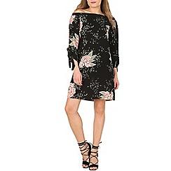 Izabel London - Black floral print bardot dress