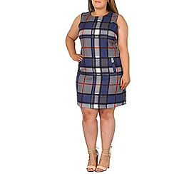 Samya - Blue checked shift dress