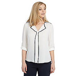 Roman Originals - Ivory contrast piped top