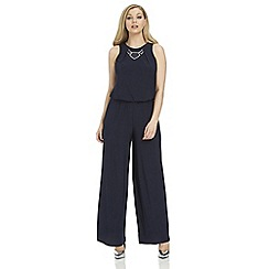 Roman Originals - Navy trim detail jumpsuit