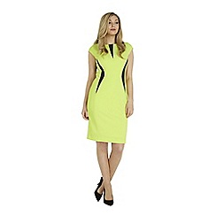Roman Originals - Lime contrast rib texture dress