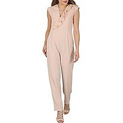 Mela - Beige front ruffle jumpsuit