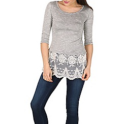 Apricot - Grey embroidered underlayer top
