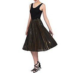 Jolie Moi - Gold pleated a-line skirt