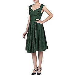 Jolie Moi - Dark green  ruched crossover bust prom dress