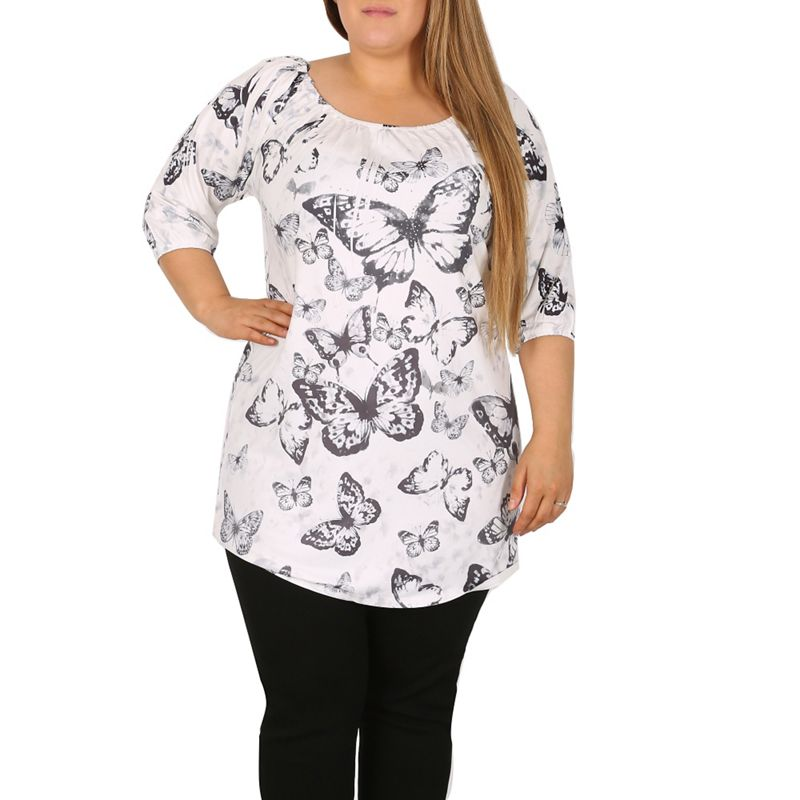 Plus Size Samya White Butterfly Print Dress, Womens, Size: