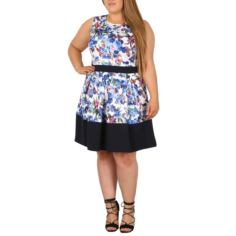 Plus Size Samya Blue Floral Print Pleated Fit and Flare