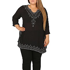 Samya - Black embroidered tunic dress