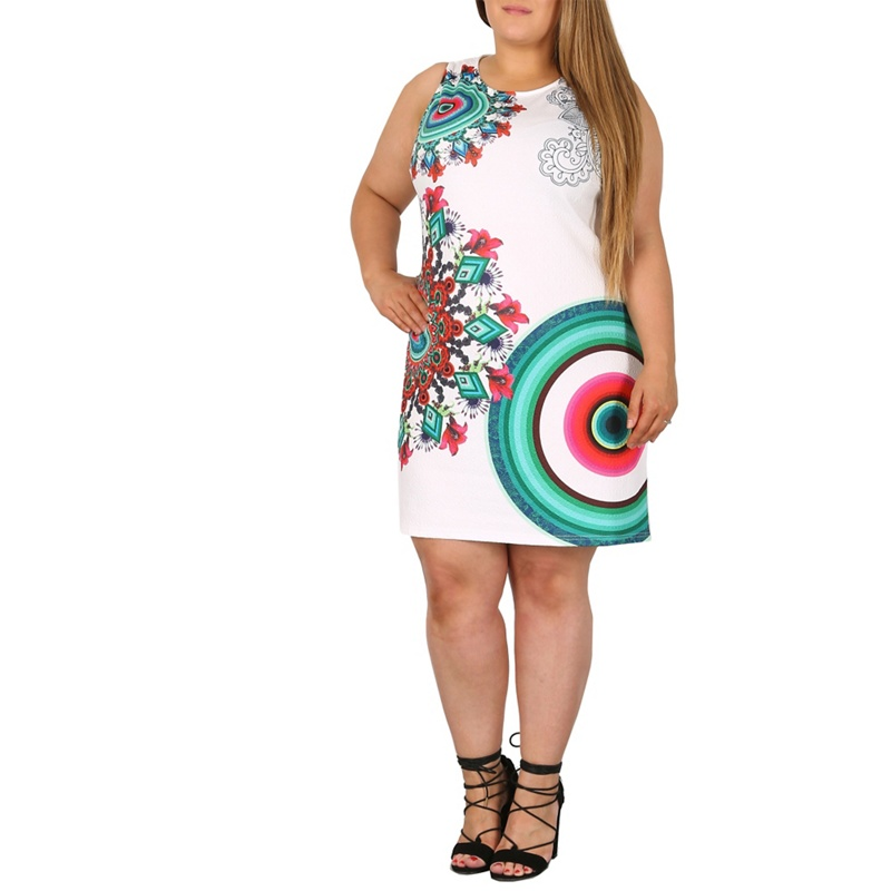 Plus Size Samya White Printed Bodycon Dress, Womens, Size: