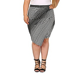 Samya - Black wrap style fitted stripe print skirt