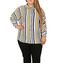 Samya - Multicoloured striped cold shoulder shirt
