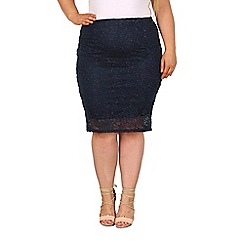 Samya - Navy knee length glitter skirt