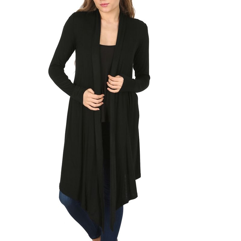 Izabel London Black Long Sleeve Waterfall Cardigan, Womens,