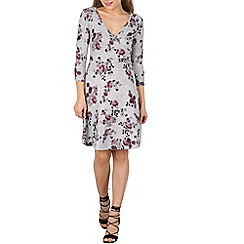 Izabel London - Grey 3/4 sleeve floral print skater dress