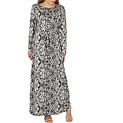 Izabel London - Navy long sleeve printed maxi dress