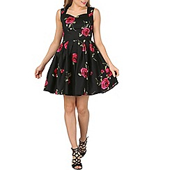 Izabel London - Black sleeveless sweetheart neck floral  dress