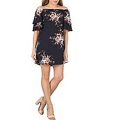 Izabel London - Navy floral print chiffon top