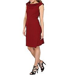 Izabel London - Dark red sleeveless pleat neck detail dress