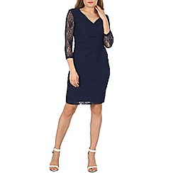 Izabel London - Navy 3/4 sleeve lace pleat wrap dress