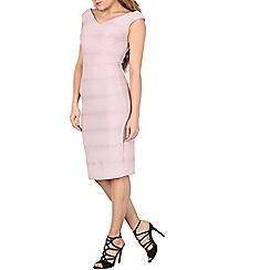 Izabel London - Pink textured v neck bodycon dress