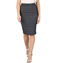 Izabel London - Navy zig zag print pencil skirt