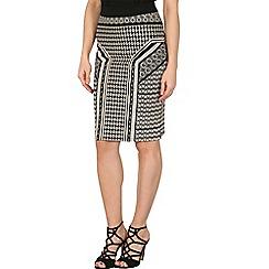 Izabel London - Black stretch textured pencil skirt