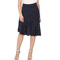 Izabel London - Navy polka dot frill detail skirt