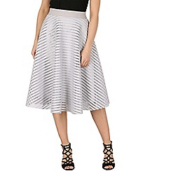 Izabel London - Grey mesh stripe midi skirt