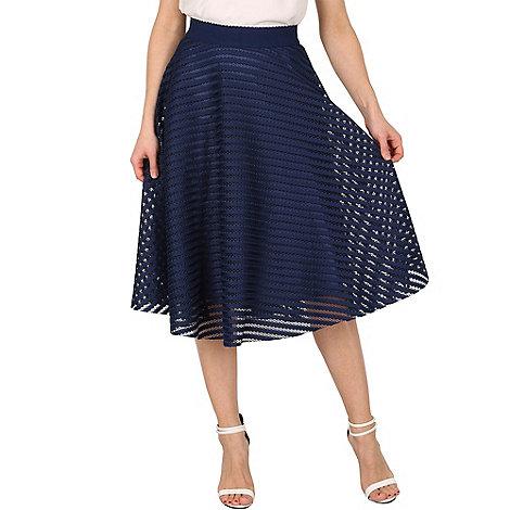 Izabel London Navy mesh stripe midi skirt | Debenhams