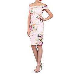 Jolie Moi - Pink floral print bardot neck wiggle dress