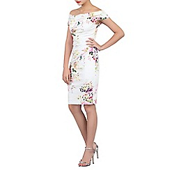 Jolie Moi - White floral print bardot neck wiggle dress