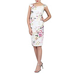 Jolie Moi - White floral print ruched wiggle dress