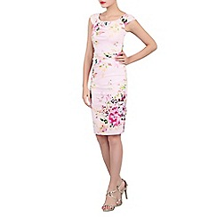 Jolie Moi - Pink floral print ruched wiggle dress