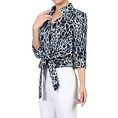 Jolie Moi - Grey leopard print high collar belted blazer