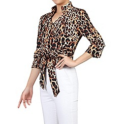 Jolie Moi - Brown leopard print high collar belted blazer