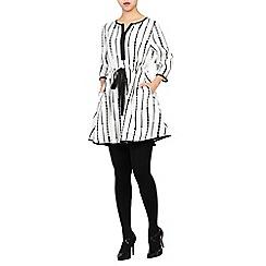 Jolie Moi - White mono geo printed drawstring tunic