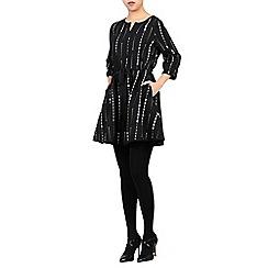 Jolie Moi - Black mono geo printed drawstring tunic
