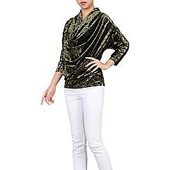 Jolie Moi - Khaki cowl neck velvet batwing top