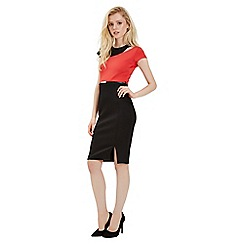 Jane Norman - Black colour block belted dress