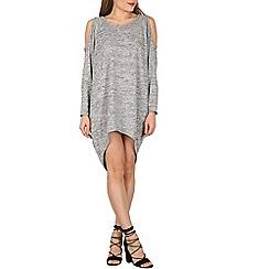 Apricot - Grey cold shoulder dress